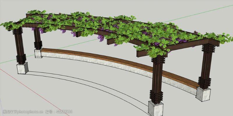 藤蔓弧形花架SU模型图片