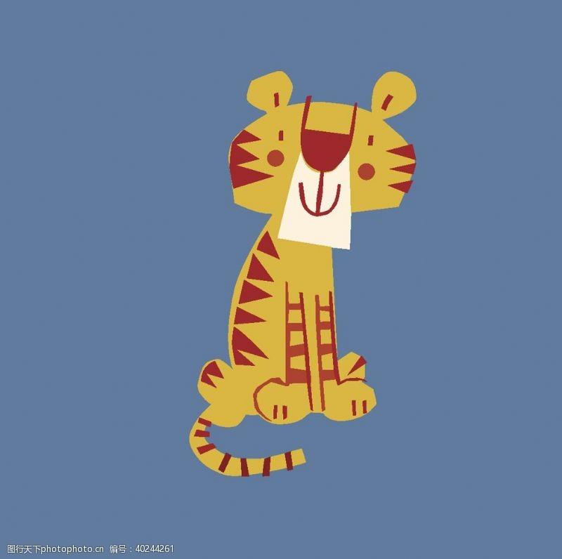 大片卡通动物图案可爱布偶老虎图片
