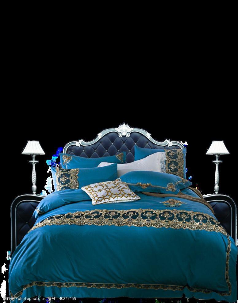 蓝色床图片