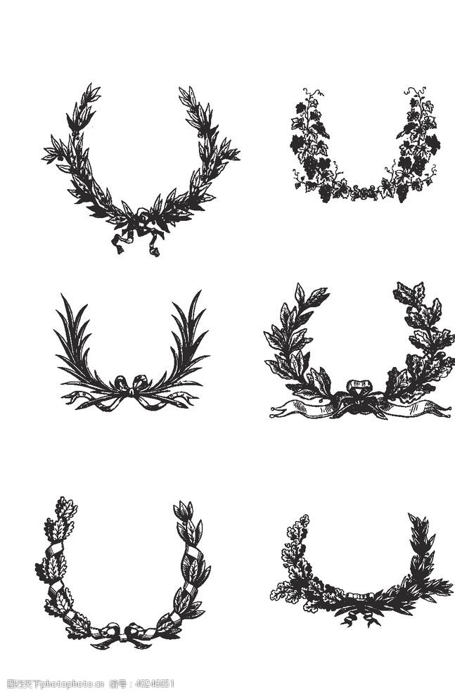 会徽麦穗圆形花纹矢量图片