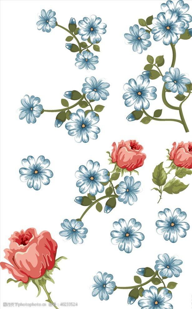 手绘素材玫瑰花矢量图图片