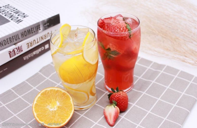 芒果柠檬水草莓汁橙汁图片