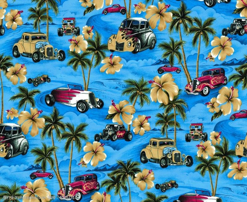 沙滩裤热带风印花图片