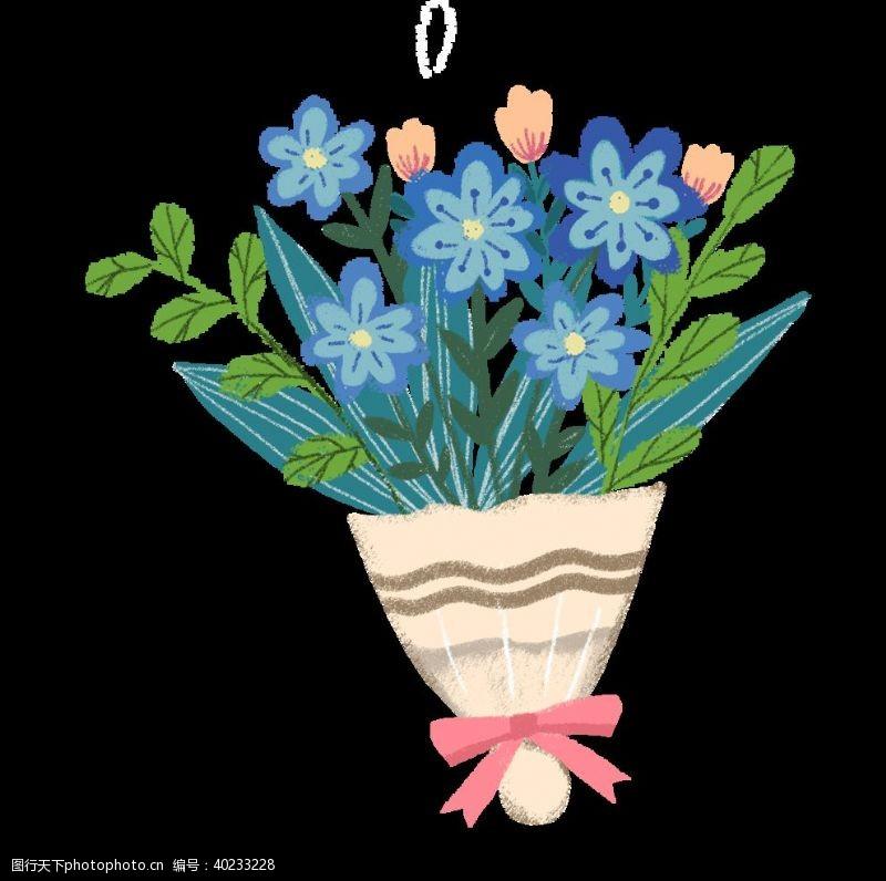 小清新手绘花朵花束手捧花图片