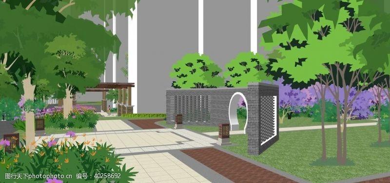 花园小区景观园林效果图图片