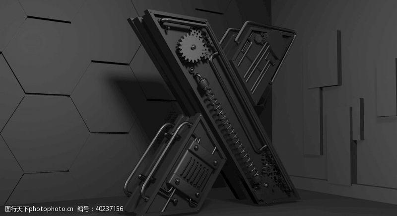 炫酷字体X字母C4D机械字图片