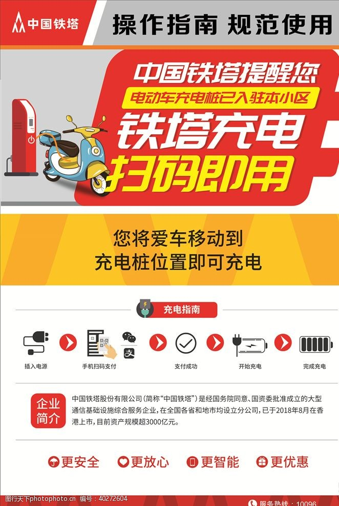 自行车中国铁塔充电桩展板图片