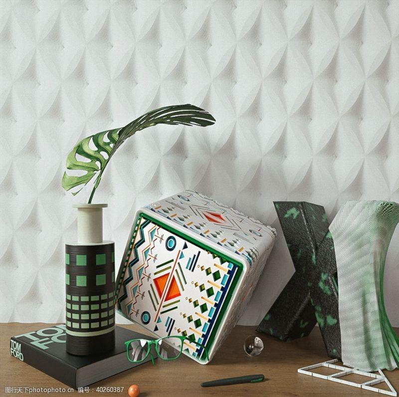 眼镜C4D模型桌面装饰品花盆图片