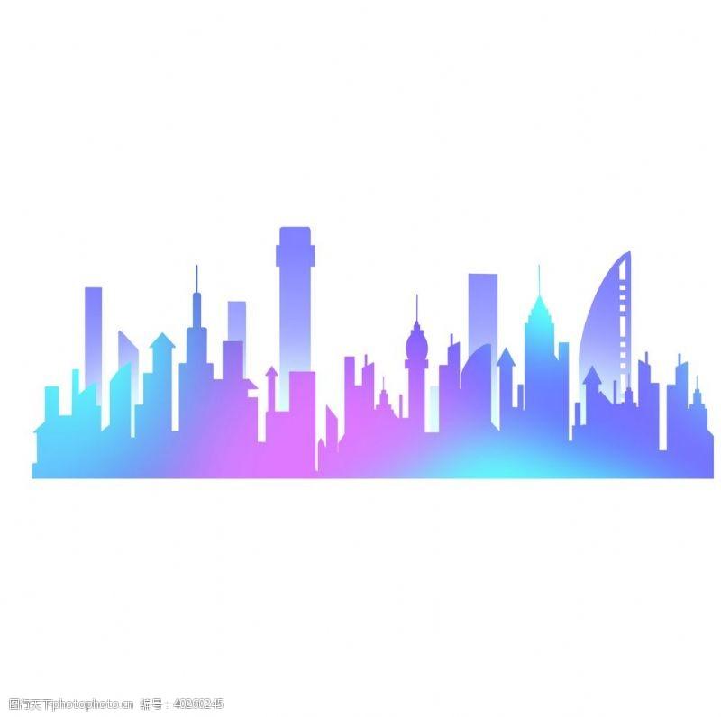 建筑背景城市标志建筑剪影插画图片
