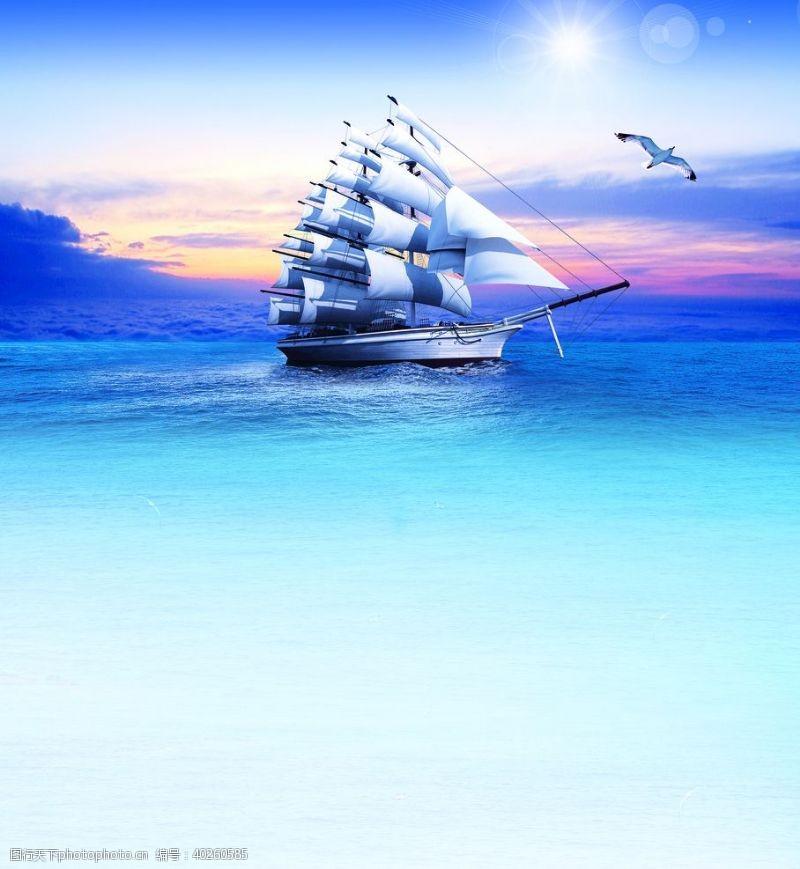 企业形象帆船扬帆起航图片