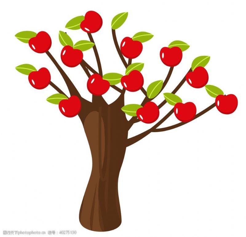 矢量水果挂满苹果的苹果树图片