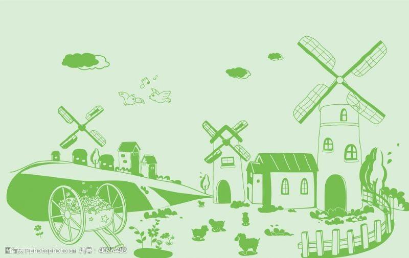 风车硅藻泥儿童房背景墙贴图片