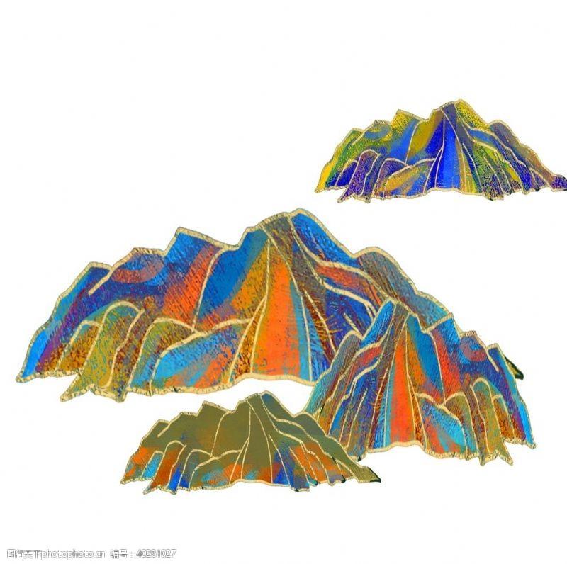 装饰元素国潮山脉图片