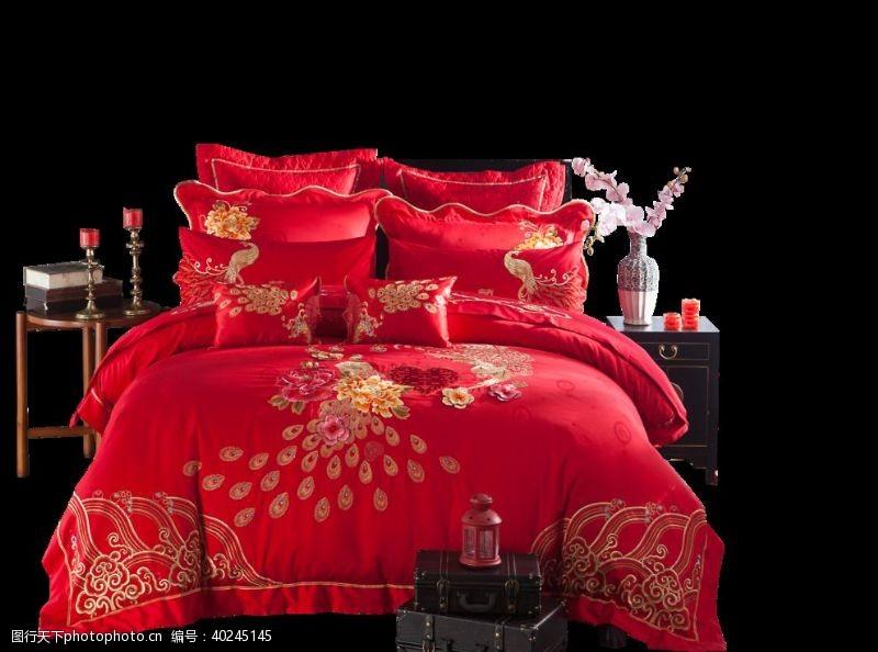 红色床图片
