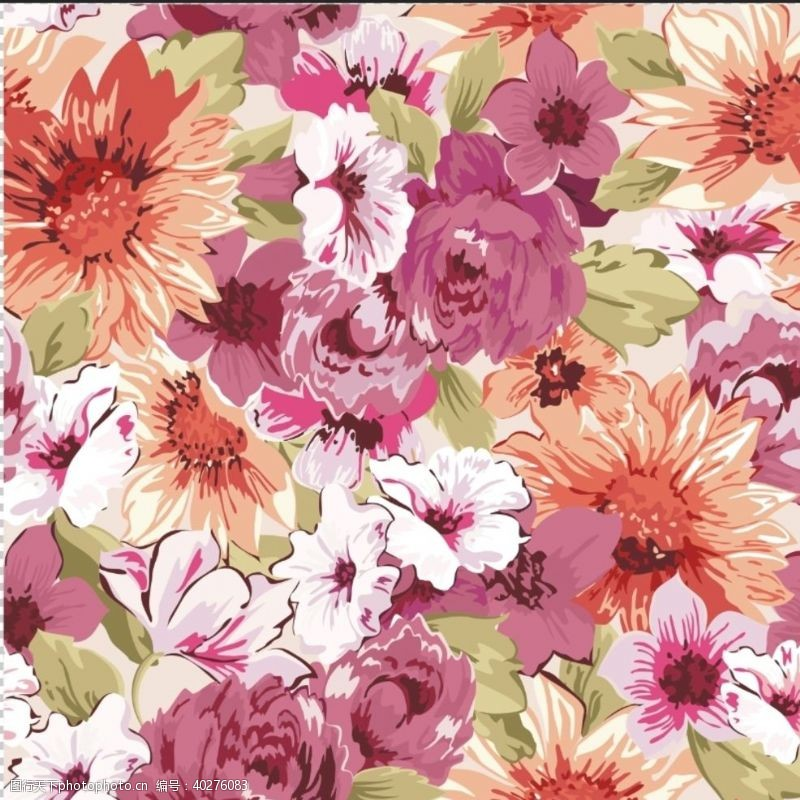 服装印花花卉手绘图片