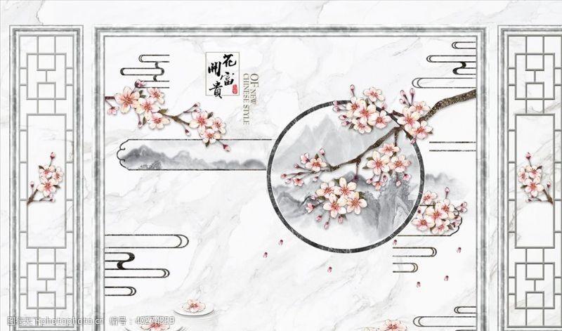 背景墙设计花鸟画梅花框框背景墙图片