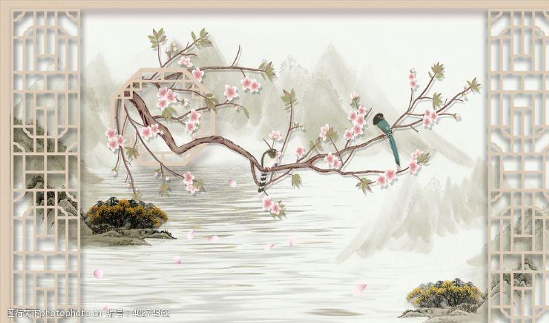 花鸟画袁兰花背景墙图片
