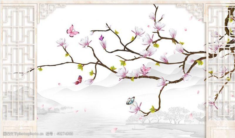 背景墙设计花鸟画玉兰花造型背景墙图片