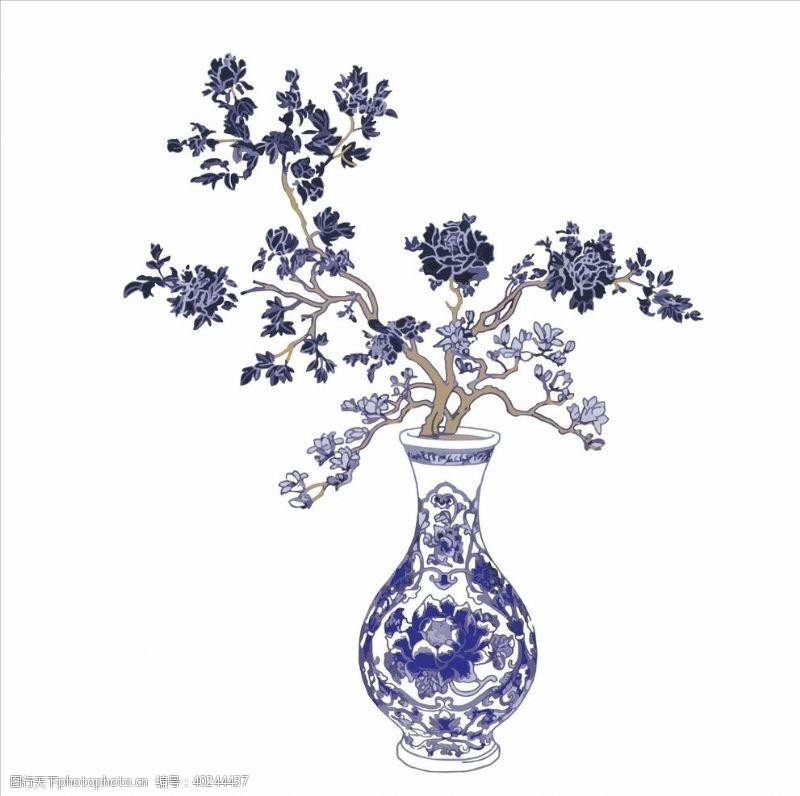青花花瓶图片