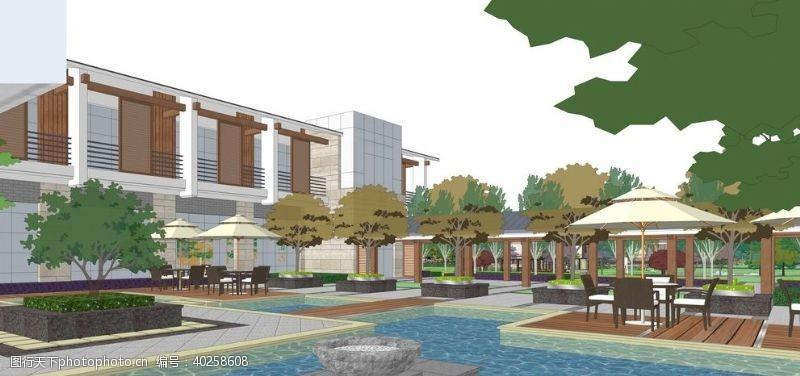 会议中心园林景观设计效果图图片