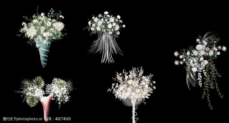 婚礼效果图素材白绿色手花图片