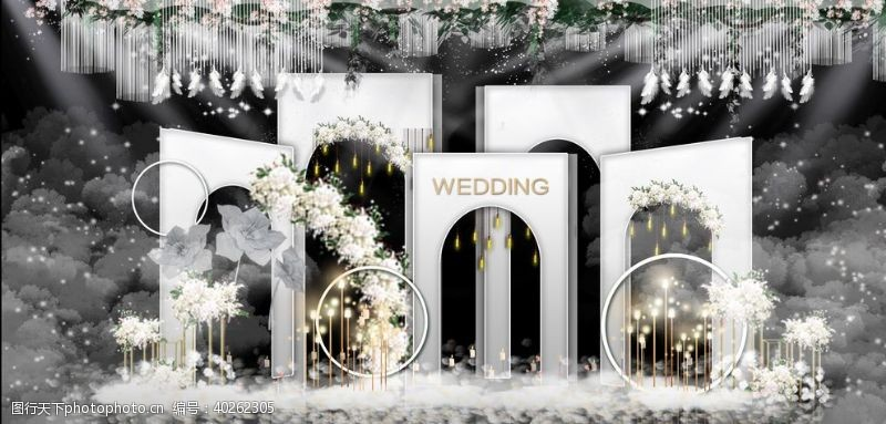 韩式婚礼婚庆舞台户外效果图图片