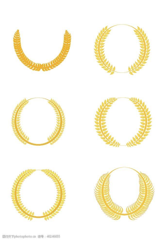 金色麦穗圆形花纹图片
