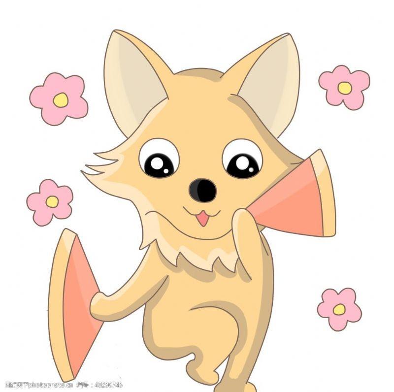 线描卡爱跳舞的狐狸手绘图片