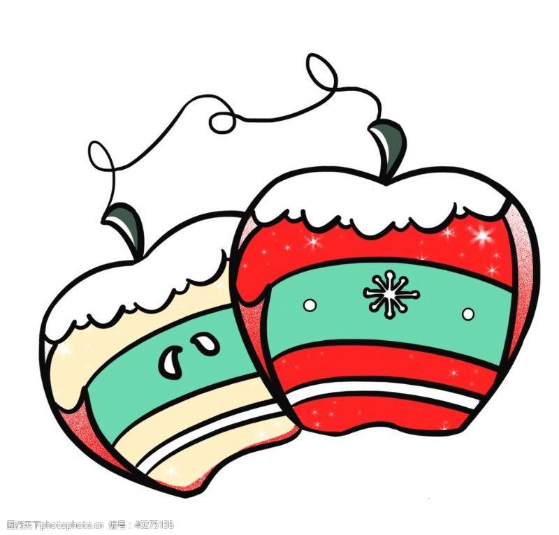 矢量水果卡通手绘圣诞手套苹果圣诞节图片