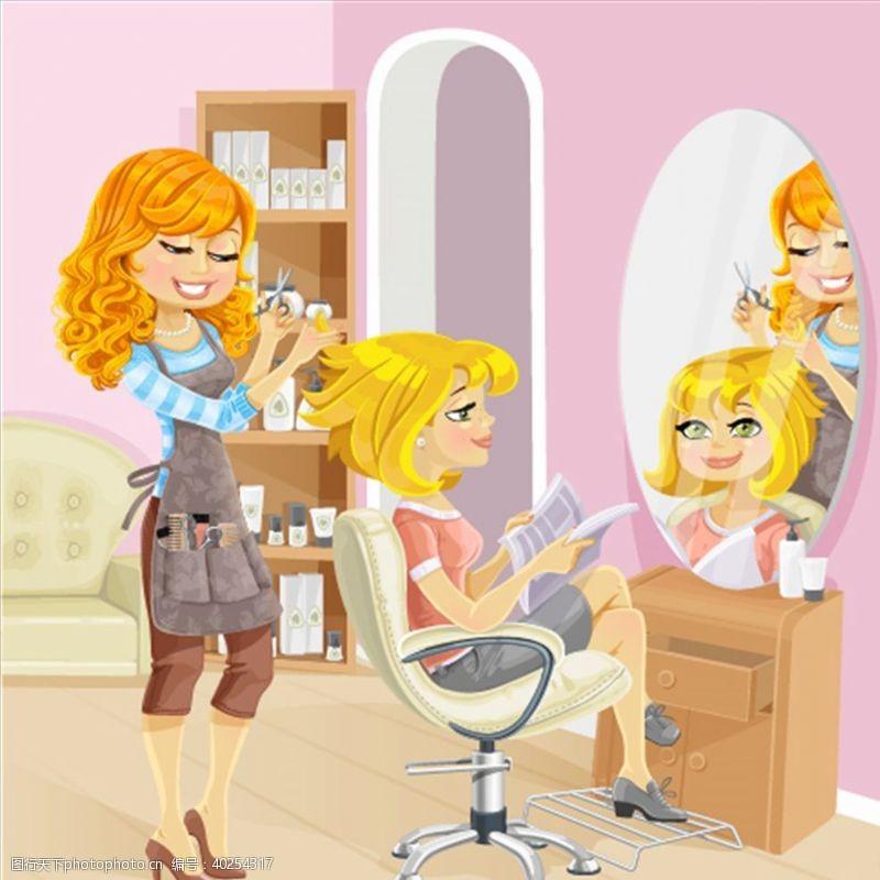 美发店理发师图片