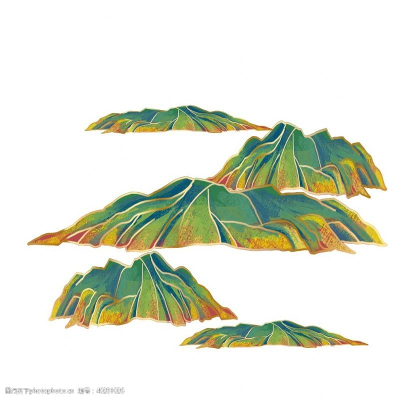 装饰元素绿色山脉图片