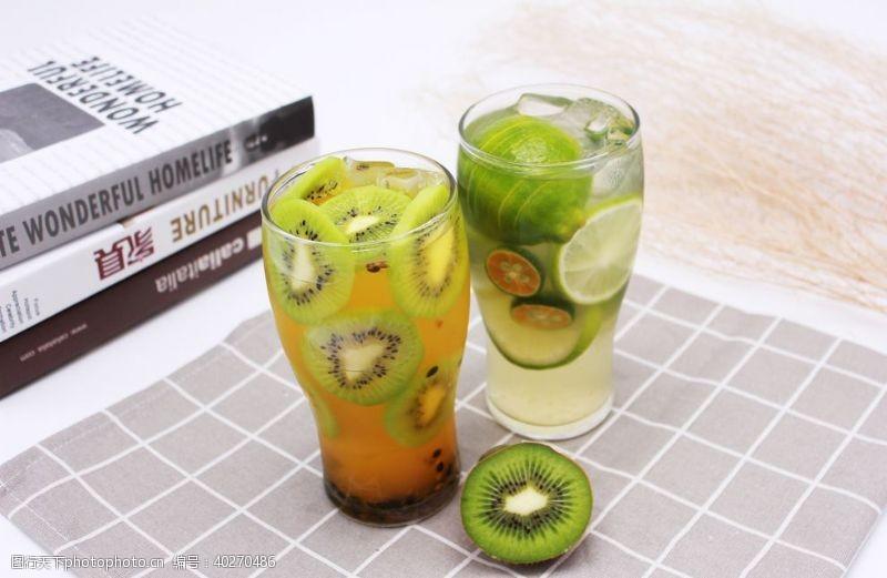 芒果猕猴桃汁青柠饮品柠檬水图片