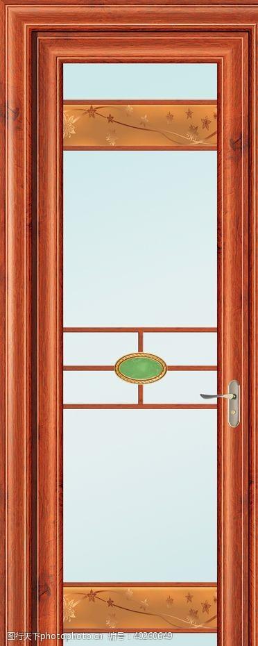梨PU红花平开门厨房门图片