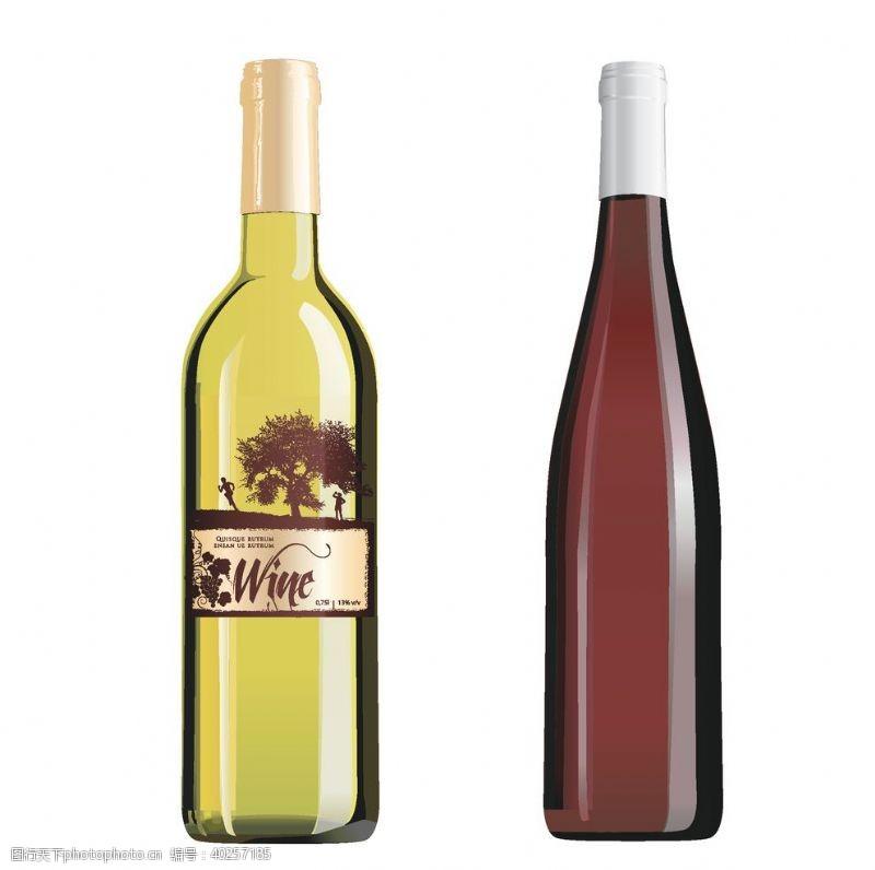 手绘素材葡萄酒瓶矢量图图片