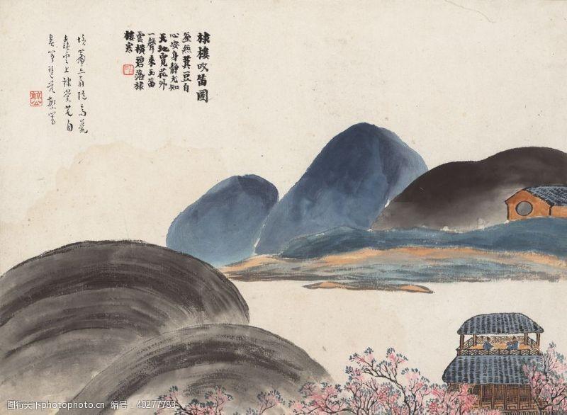 美术绘画齐白石国画棣楼吹笛图图片