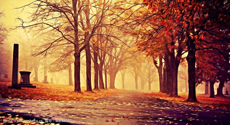 花草树木山水风景油画图片