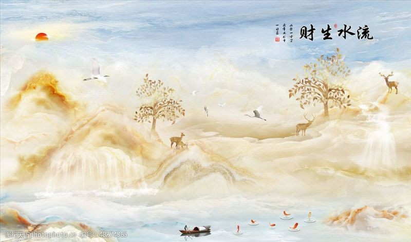 背景墙设计山水画鹿树小船背景墙图片