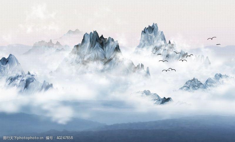 玉石山水画山水情图片