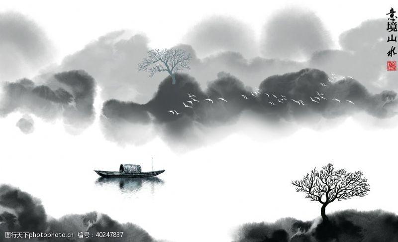 玉石山水画意境山水图片