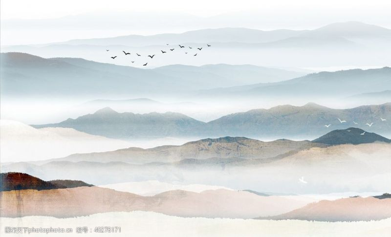 玉石山水画中式背景墙装饰画新图图片