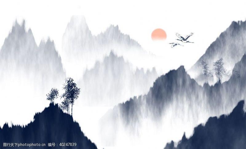 玉石山水画装饰画中式图片
