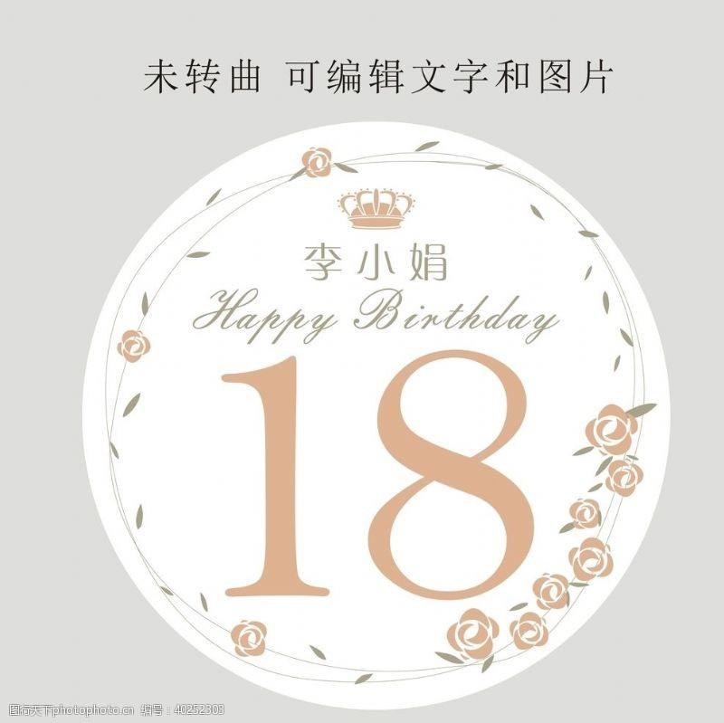 成人十八岁生日展板图片