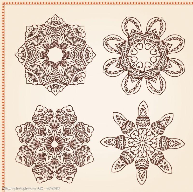 圆形花纹矢量传统吉祥图腾花纹图片