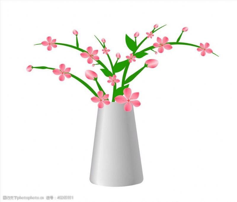手绘花朵矢量花瓶图片