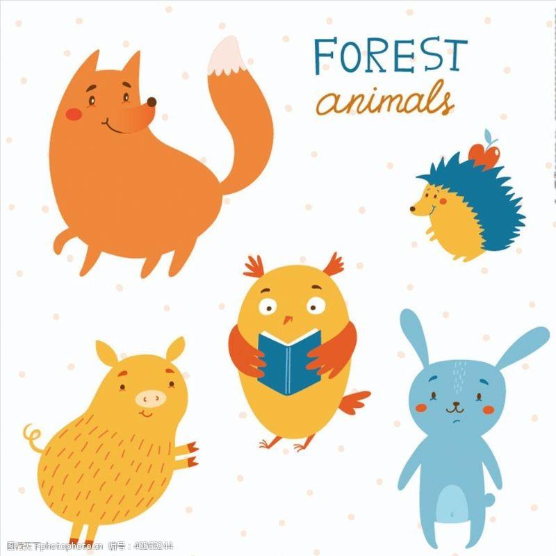 动物印花手绘卡通动物图片
