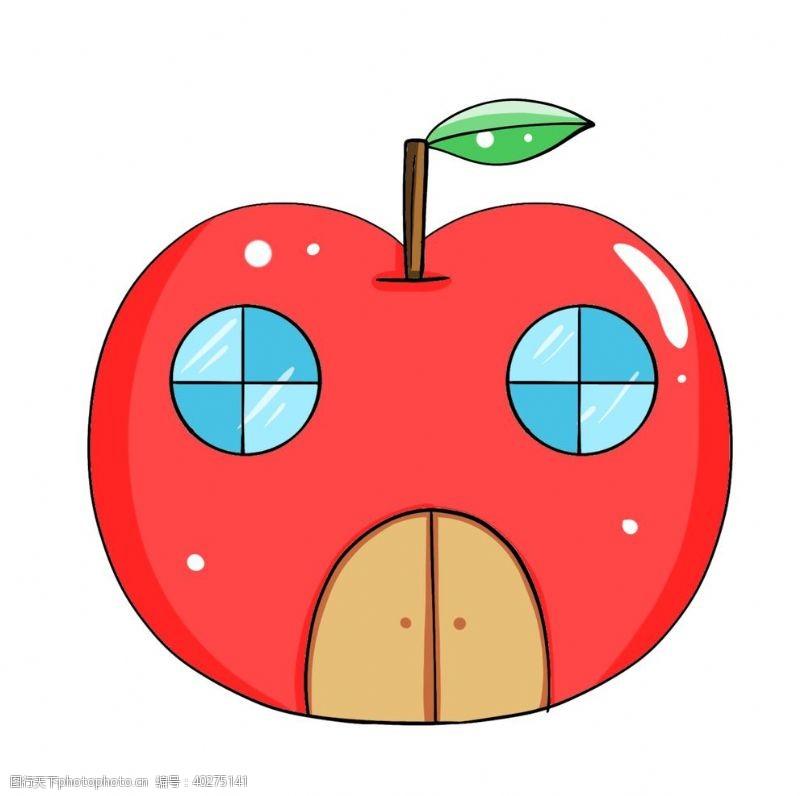 矢量水果手绘卡通建筑苹果房子图片