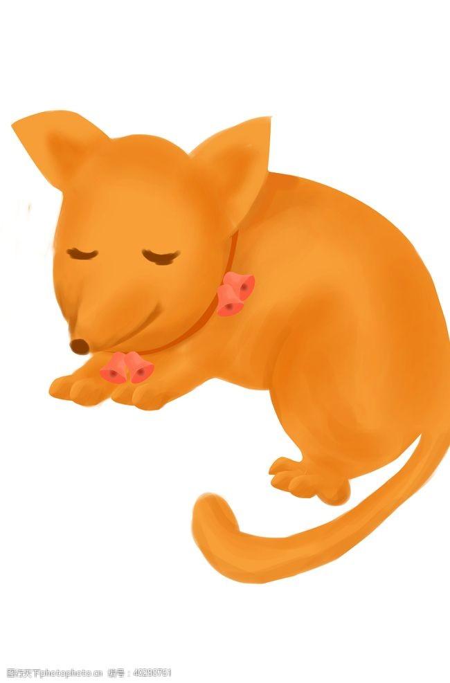线描睡觉的狐狸图片