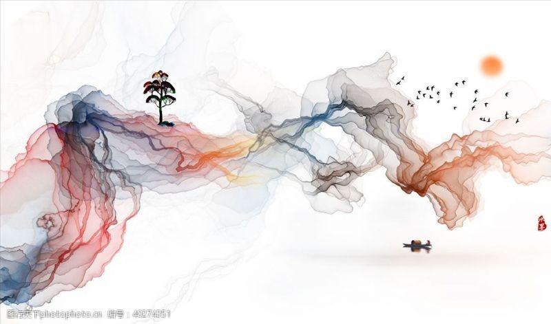 水墨画飘带树背景墙图片