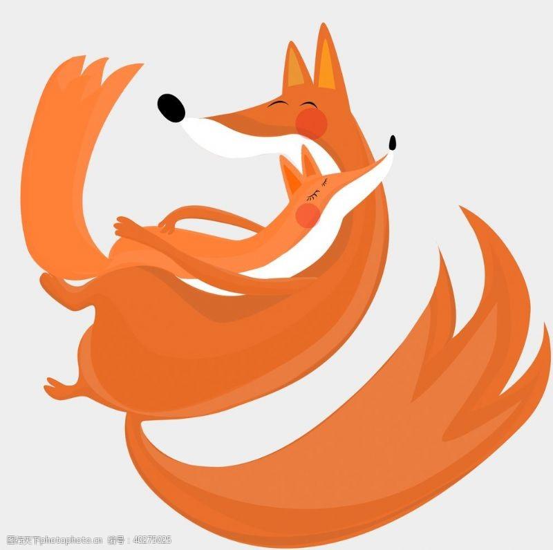 卡通小动物温馨狐狸装饰元素图片