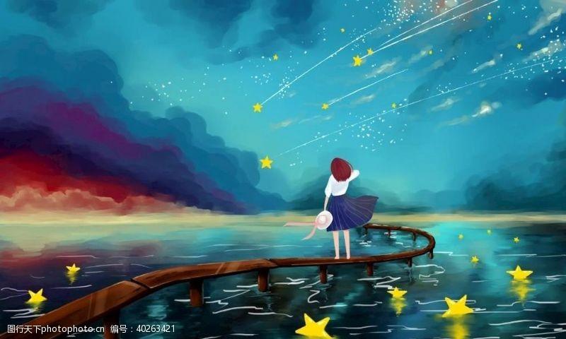 卡通图片星空女孩图片